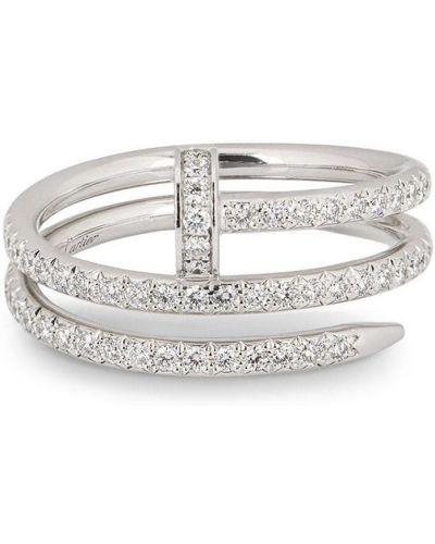 Серебряное кольцо с бриллиантом круглое Cartier