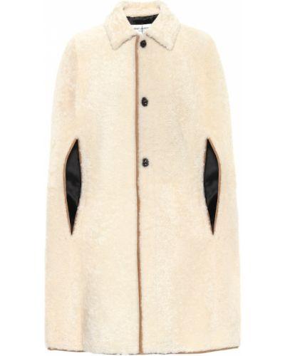 Белое кожаное пальто Saint Laurent