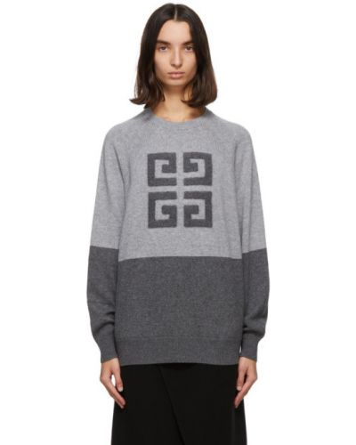 Kaszmir sweter z raglanowymi rękawami z kołnierzem z mankietami Givenchy