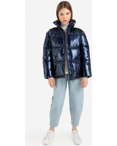 Джинсовая куртка с воротником-стойка - синяя Gloria Jeans