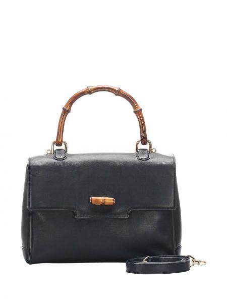 Кожаная черная сумка-тоут на молнии с карманами Gucci Pre-owned