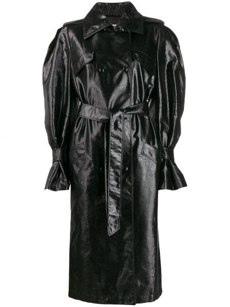 Черное прямое пальто с поясом металлическое Olivier Theyskens