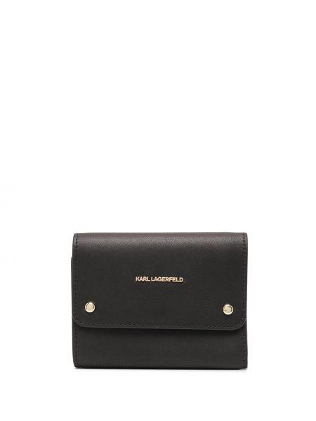 Черный кожаный кошелек с карманами Karl Lagerfeld