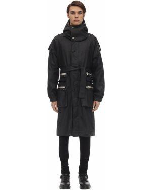 Czarny płaszcz wełniany z kapturem Raglan United