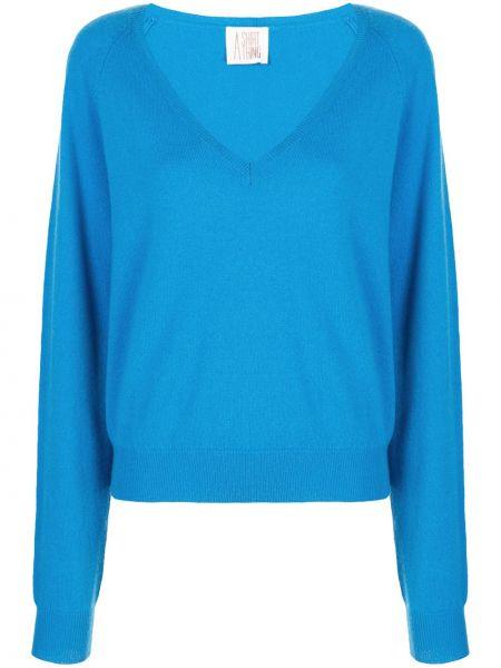 Синяя кашемировая рубашка с рукавом реглан с манжетами A Shirt Thing
