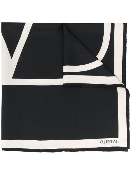 Черный шелковый платок квадратный Valentino
