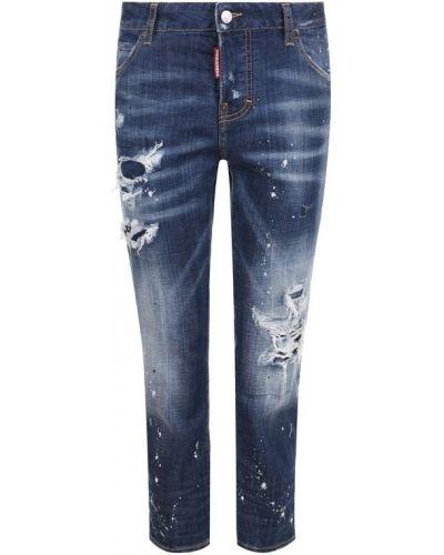 Прямые джинсы укороченные с эффектом потертости Dsquared2