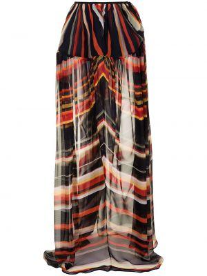 Шелковая юбка макси с завышенной талией в полоску Christopher Esber