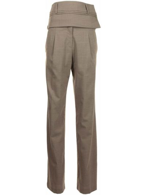 Шерстяные коричневые брюки с завышенной талией Christopher Esber