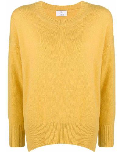 Кашемировый желтый вязаный джемпер в рубчик с круглым вырезом Allude