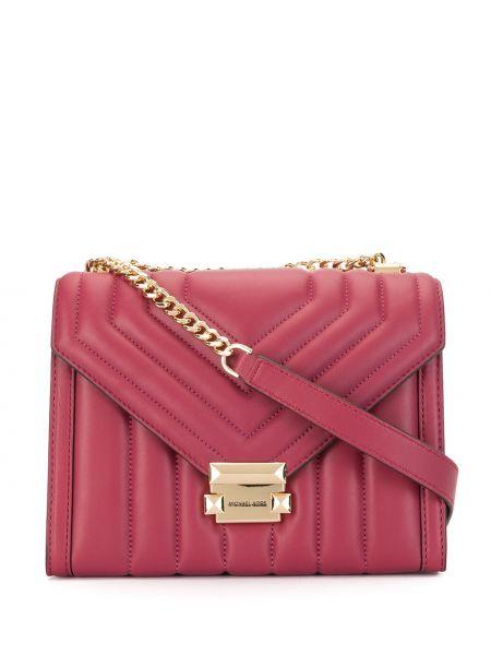 Розовая стеганая кожаная большая сумка Michael Kors
