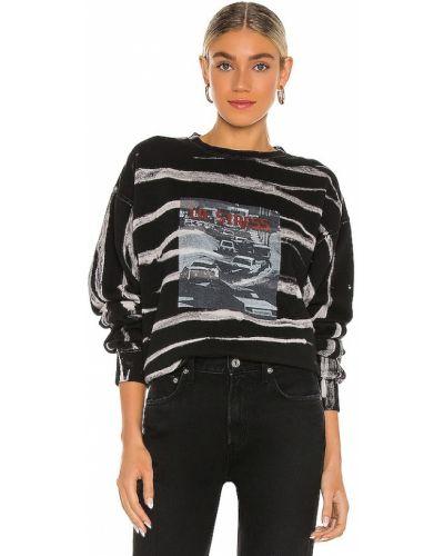 Czarny bawełna bawełna pulower La Detresse