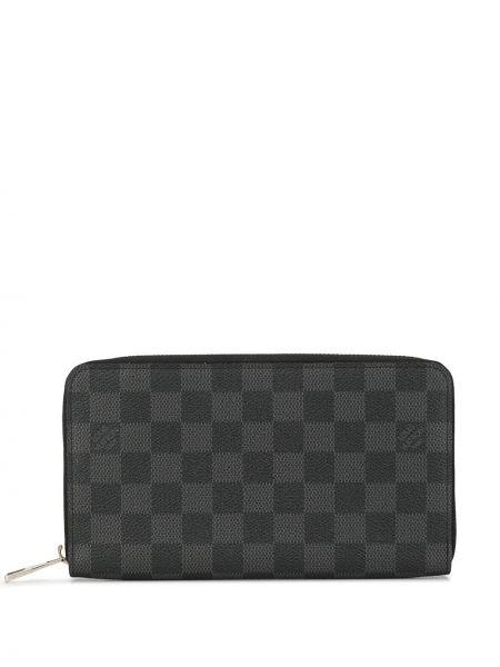Черный кожаный кошелек на молнии Louis Vuitton