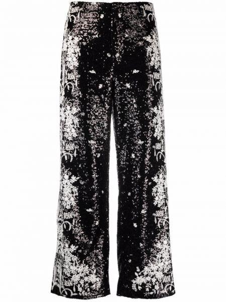 Шелковые черные брюки с завышенной талией Giambattista Valli