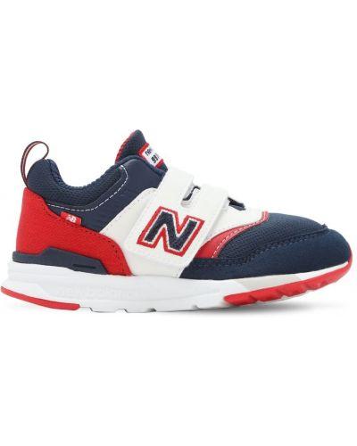 Niebieski skórzany sneakersy z wkładkami na hakach New Balance