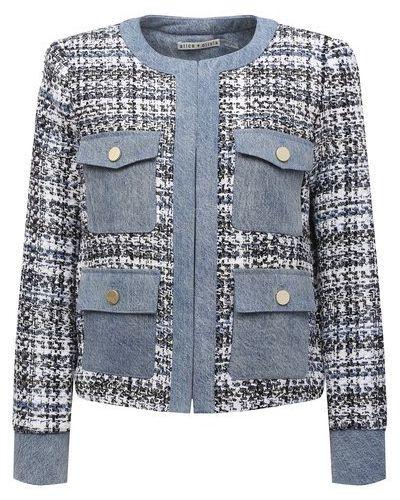 Хлопковый синий пиджак с подкладкой Alice + Olivia