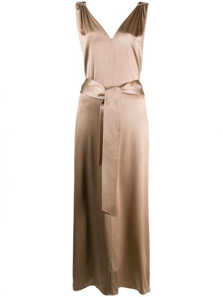 Платье миди с V-образным вырезом с поясом Brunello Cucinelli