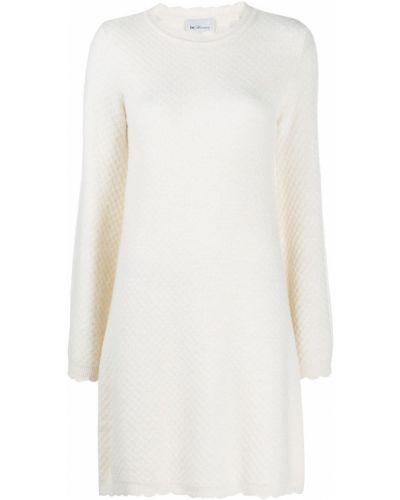 Белое вязаное платье мини из альпаки с вырезом Blumarine