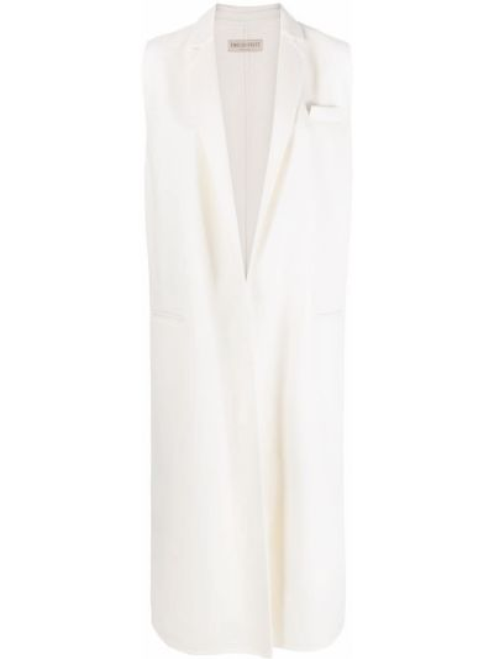 Шерстяное белое пальто без рукавов Emilio Pucci