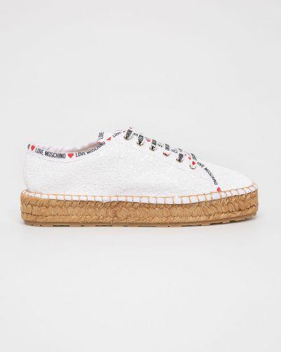 Эспадрильи на шнуровке белые Love Moschino