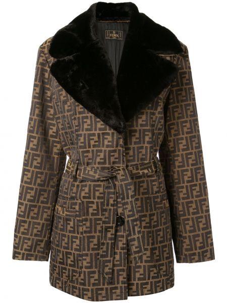 Хлопковая коричневая куртка винтажная Fendi Pre-owned