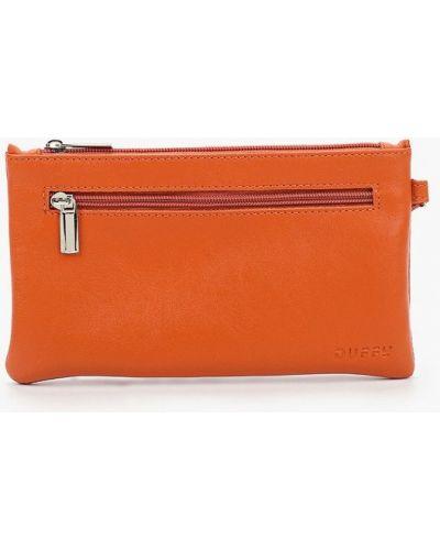 Кожаный оранжевый клатч Duffy