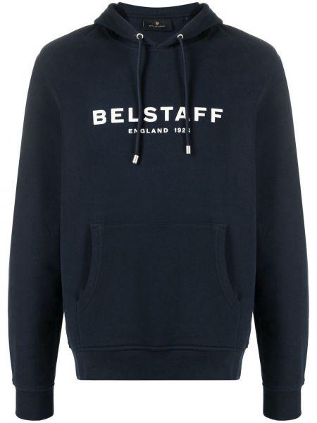 Niebieska bluza długa z kapturem z haftem Belstaff