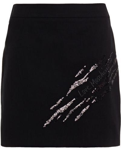 Czarna spódnica mini z cekinami bawełniana Love Moschino