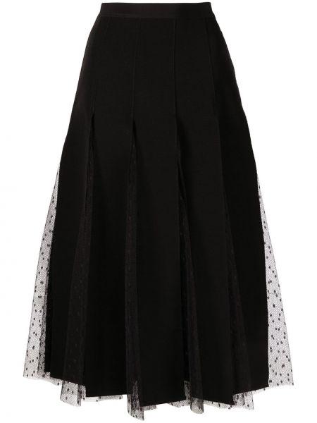 Черная с завышенной талией юбка миди из фатина Red Valentino