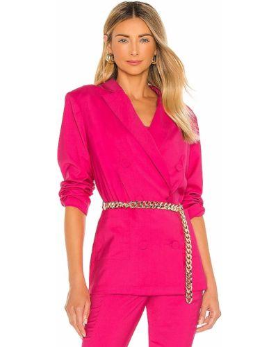 Розовый пиджак с поясом с заплатками Lovers + Friends