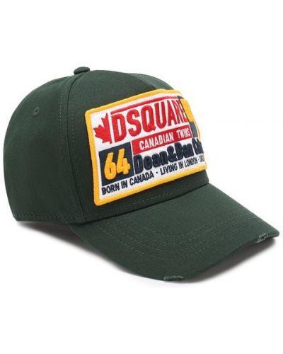 Зеленая бейсболка с надписью Dsquared2