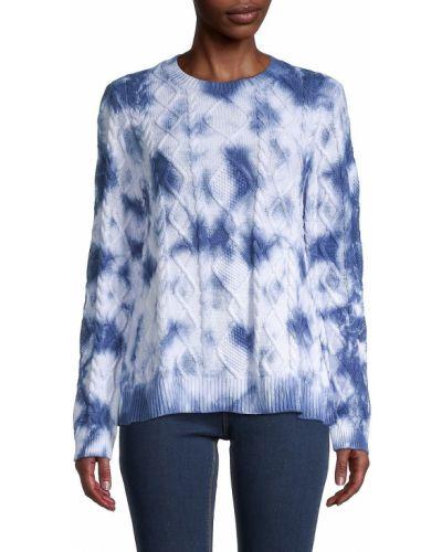 Хлопковый синий длинный свитер с длинными рукавами Nicole Miller