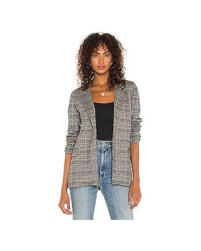 Черный кожаный пиджак с карманами David Lerner