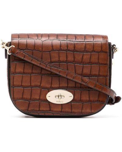 Коричневый кожаный маленькая сумка со шлицей Mulberry