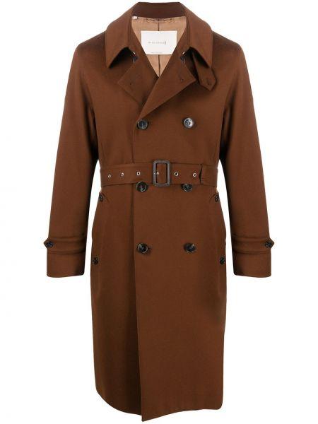 Шерстяной коричневый с рукавами макинтош двубортный Mackintosh