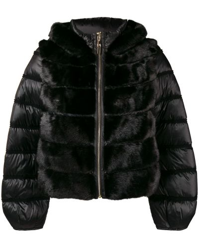Норковая черная куртка с капюшоном с манжетами Cara Mila