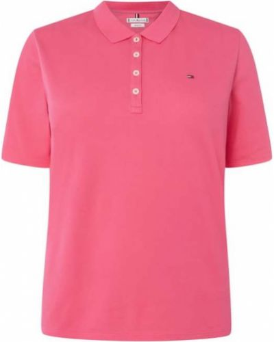 Różowa polo bawełniana Tommy Hilfiger Curve