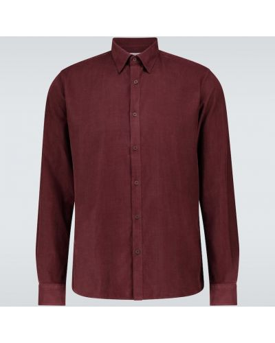 Классическая рубашка с воротником вельветовая стрейч на пуговицах Sunspel