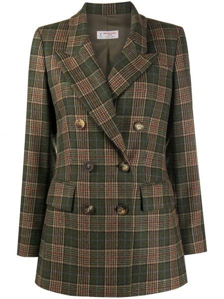 Зеленый удлиненный пиджак двубортный с карманами Alberto Biani