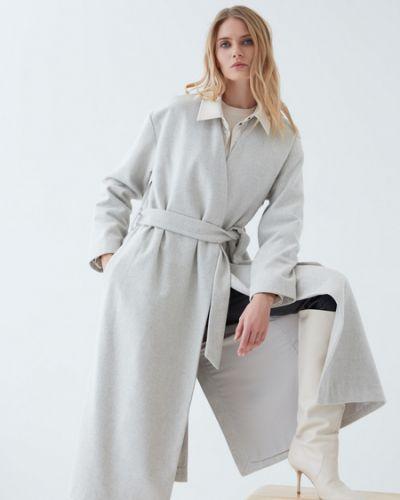 Серое шерстяное пальто с подкладкой Zarina
