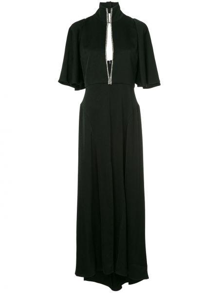 Czarna sukienka mini rozkloszowana srebrna Ellery