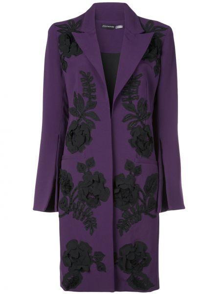 Длинное пальто с капюшоном с воротником с вышивкой Josie Natori