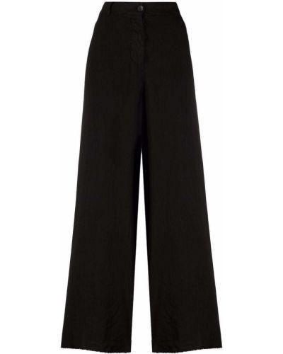 С завышенной талией хлопковые черные брюки Masnada