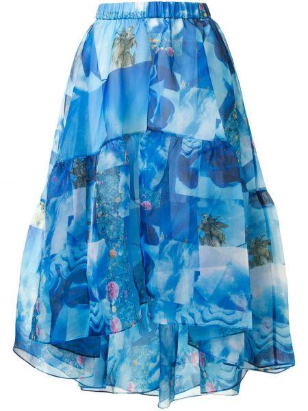 Расклешенная синяя юбка миди в рубчик с поясом Romance Was Born