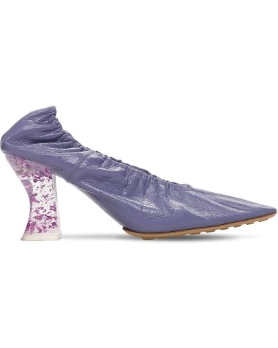 Фиолетовые кожаные туфли-лодочки на каблуке Bottega Veneta