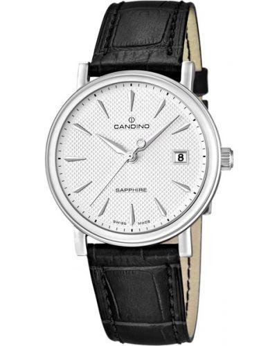 Часы водонепроницаемые с кожаным ремешком швейцарские Candino