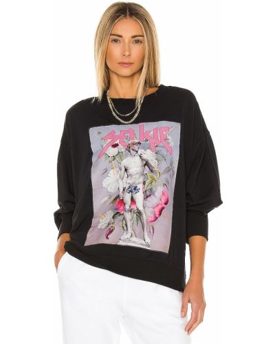 Czarny sweter bawełniany z printem Selkie