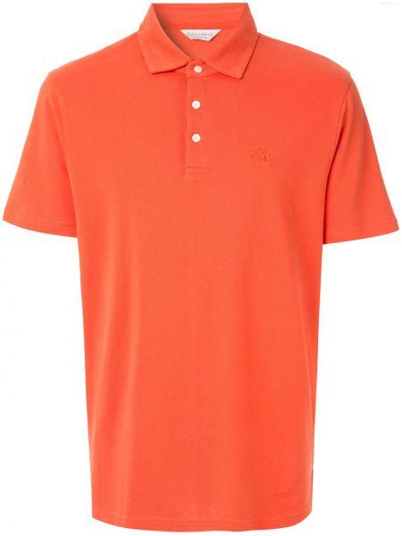 Классическое оранжевое поло с вышивкой Gieves & Hawkes