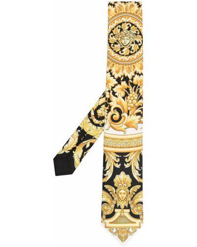 Złoty czarny krawat z printem Versace