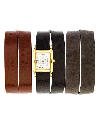 Водонепроницаемые часы на кожаном ремешке с позолотой La Mer Collections